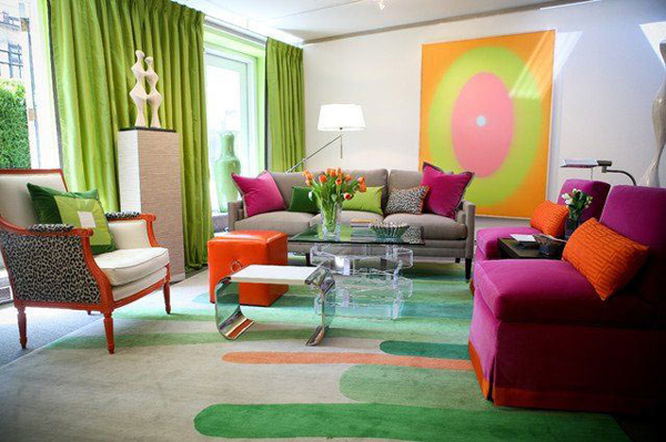 10 Living Room Designs With Colorful Rug |