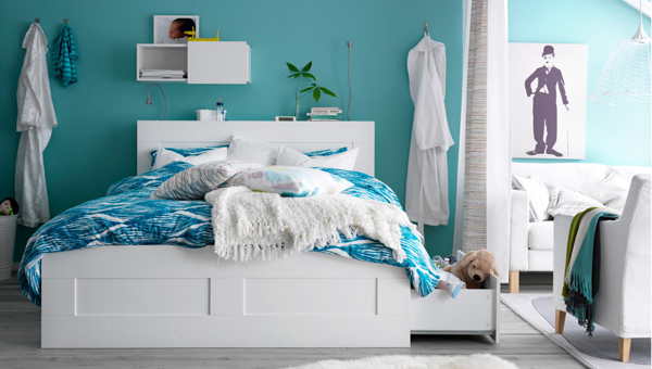 20 latest collection of ikea bedroom designs house for Ikea blue bed