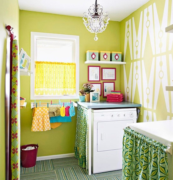Bright green laundry room for Bright green bedroom ideas