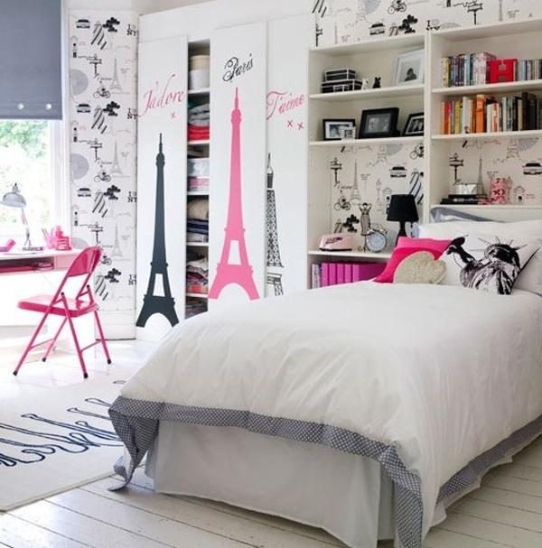 girl bedroom paris wallpaper