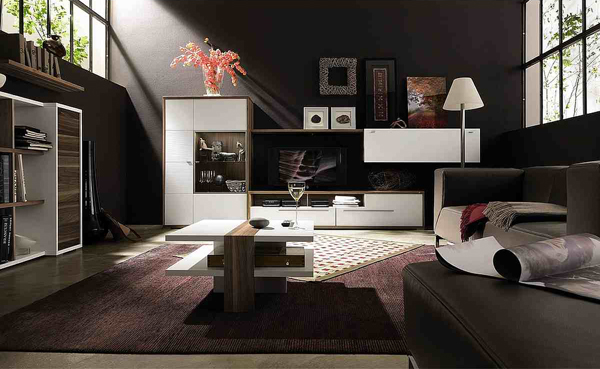 Ikea living room with brown sofa and wooden graded coffee for Ikea living room 2014