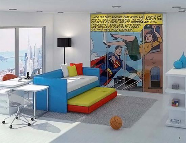 Coolest kids bedroom with superman themes house design and decor - Cool themed houses ...
