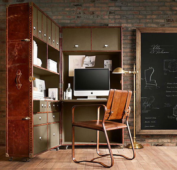 20 masculine home office with leather touch house design for Masculine home decor