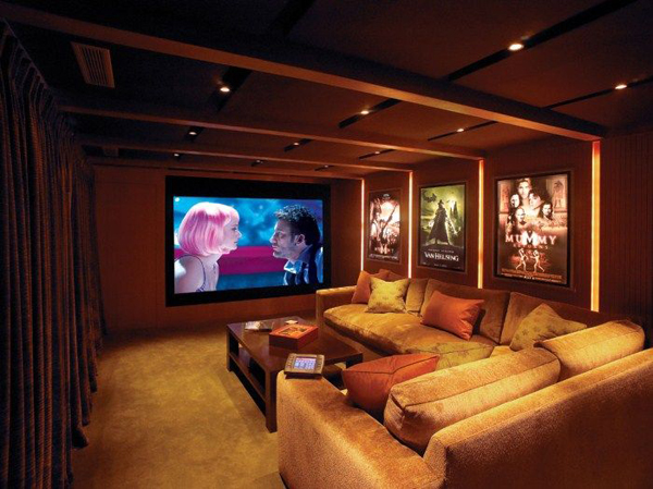 Small modern home theater ideas for Small room movie theater