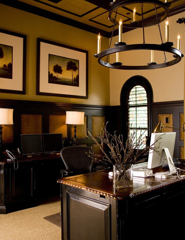 23 Elegant Masculine Home Office Design Ideas: 20 Masculine Home Office With Leather Touch