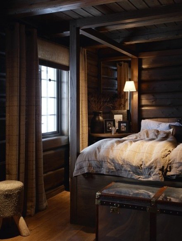 Warm cabin bedroom for winter - Winter bedroom decor ...
