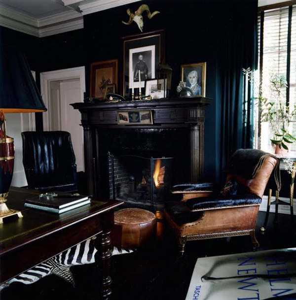 Black living room with fireplaces for Black decorated rooms