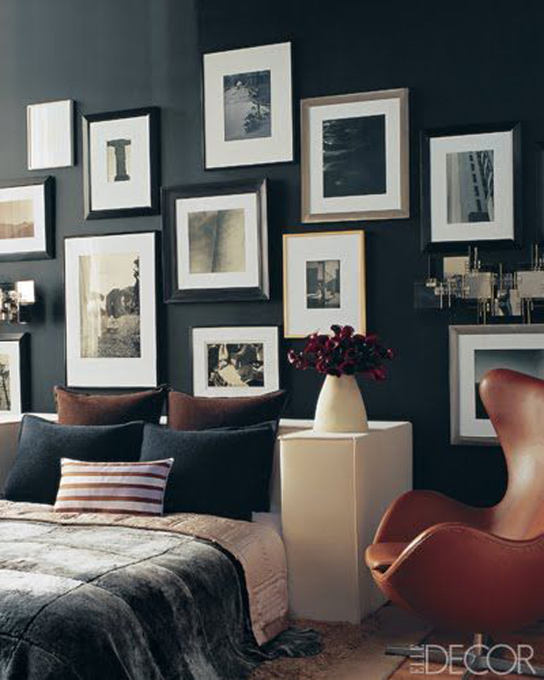Gallery Wall Ideas Black And White : Black wall bedroom gallery