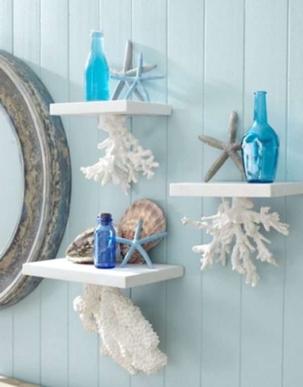 Coral hanging shelves for Sea house decor