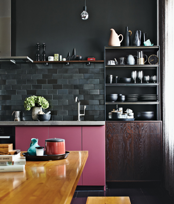 Pink Cabinet In Black Kitchen Wall