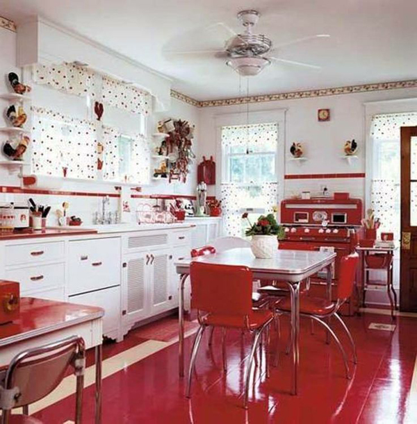 25 inspiring retro kitchen designs house design and decor for Red kitchen designs photo gallery