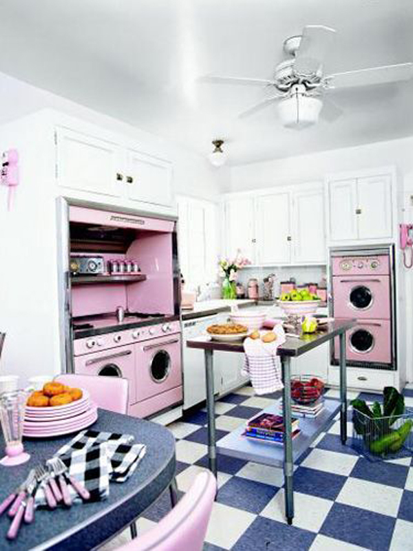 Retro kitchen design ideas for Kitchen decoration pink