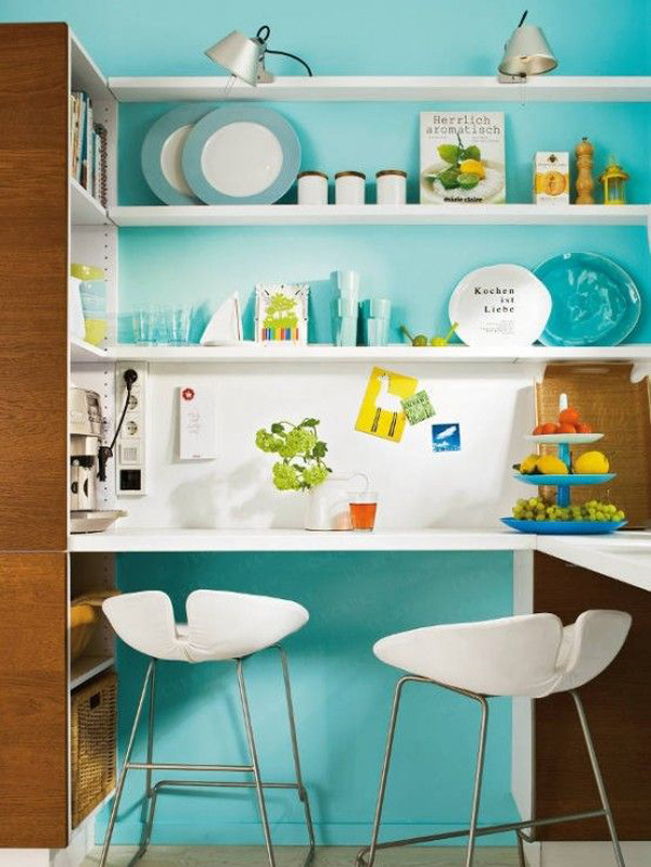 Small kitchen with blue wall shelving for Small kitchen wall art