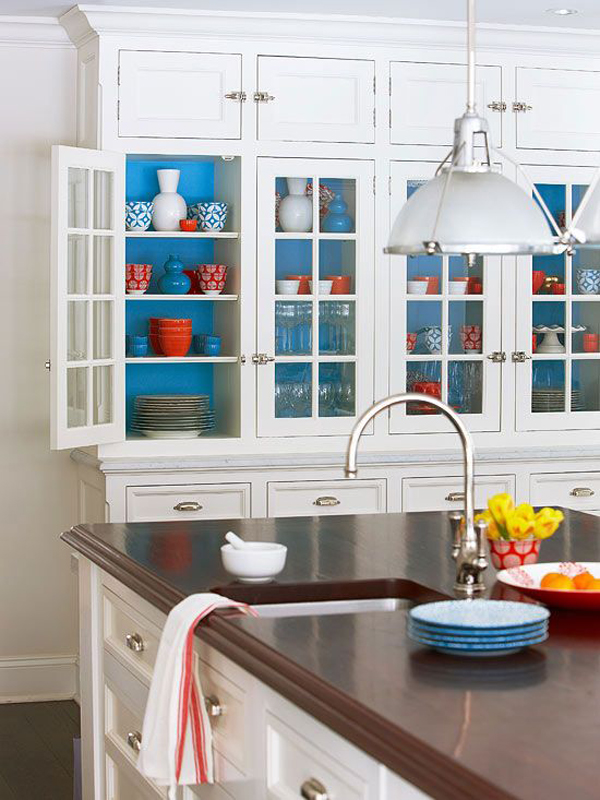 white and blue kitchen cabinet