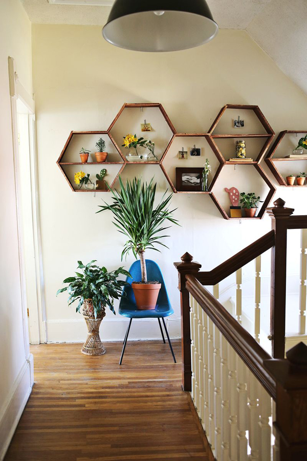 DIY Wood Honeycomb Shelves Designs