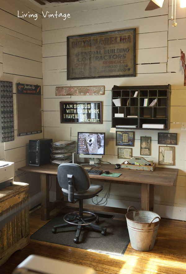 17 rustic office furniture ideas house design and decor for Vintage home office furniture