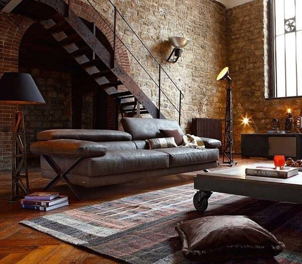 20 inspirational industrial living room designs house design and decor. Black Bedroom Furniture Sets. Home Design Ideas