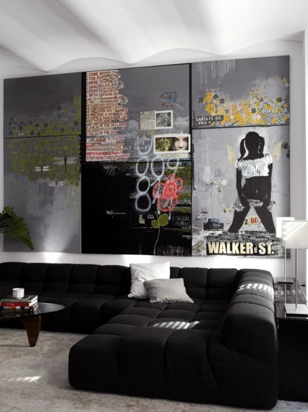 Unique Living Room Decorating Ideas: Cool-graffiti-living-room-designs