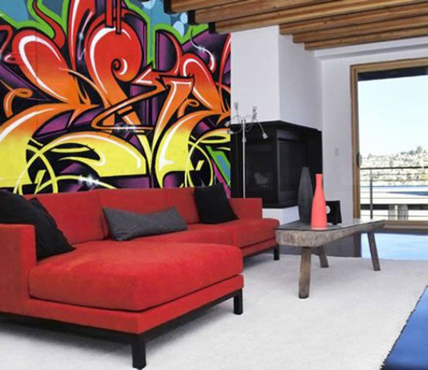 Cool graffiti living space Painting graffiti on bedroom walls