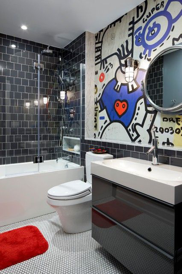 Cool graffiti wall bathroom for Cool bathroom decor