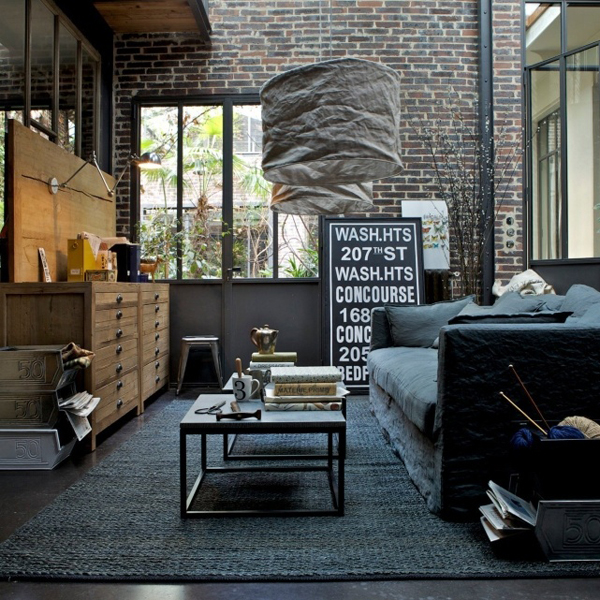 cool industrial living room ideas. Black Bedroom Furniture Sets. Home Design Ideas
