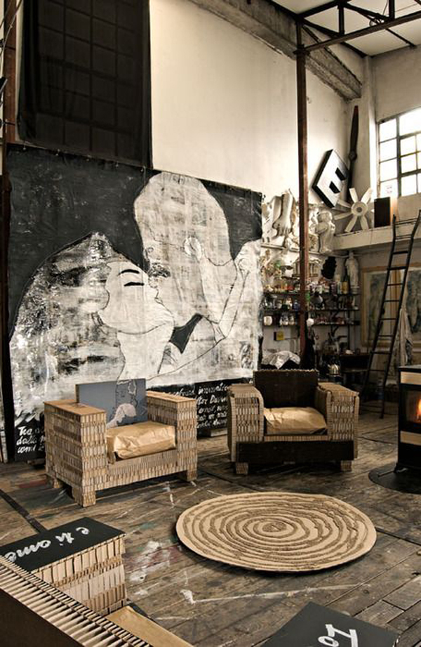 Industrial Wall Decor Ideas : Industrial living room furniture