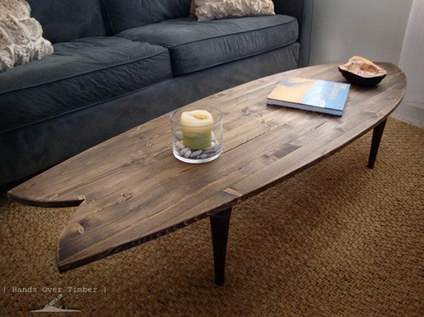 15 creative wood coffee tables house design and decor for Surfboard coffee table