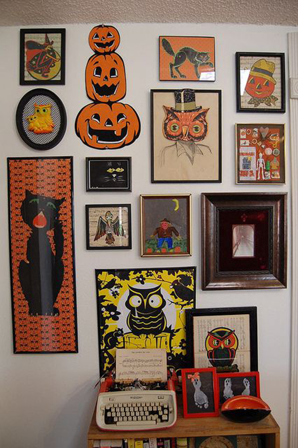 halloween gallery wall decor hallowen walljpg  vintage halloween decorations vintage halloween gallery wall  vintage halloween decorations