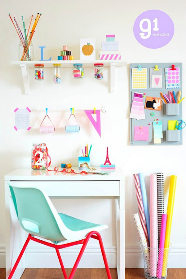 Colorful Kids Desk Storage
