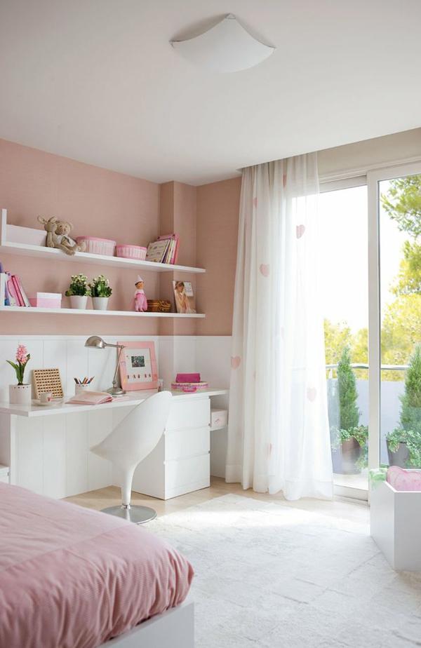 pastel bedroom workspace