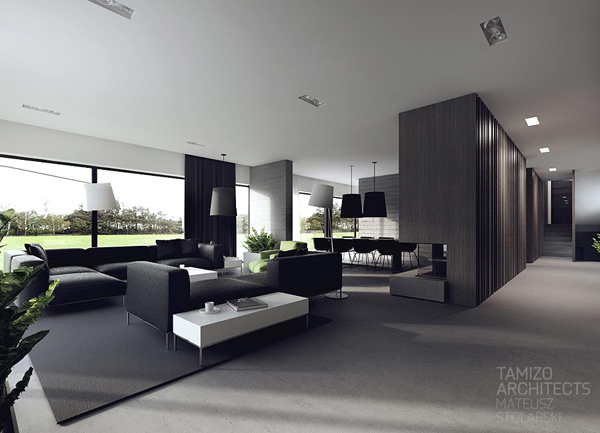 Black and white interiors by tamizo architects house for Deco interieur blanc