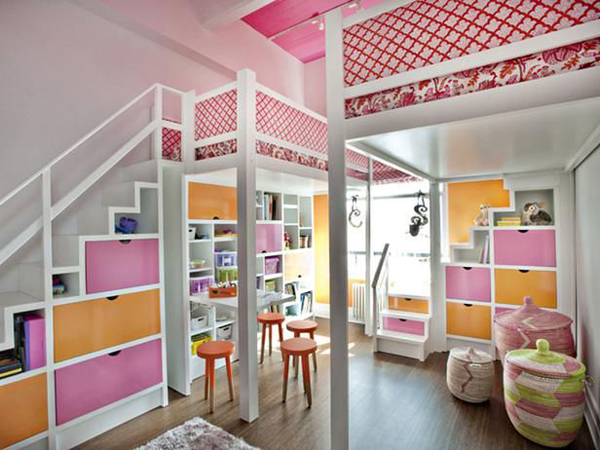 colorful kids bunk beds with playroom ideas