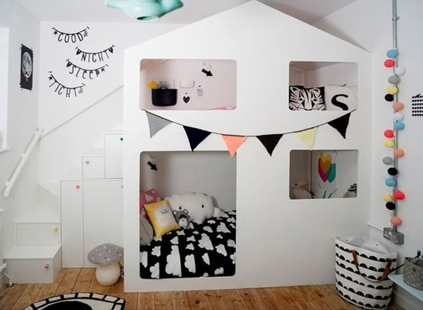 Stylish colorful white bunk bed for kids