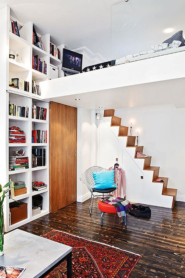 Home Library Loft: Small-loft-bed-with-home-library