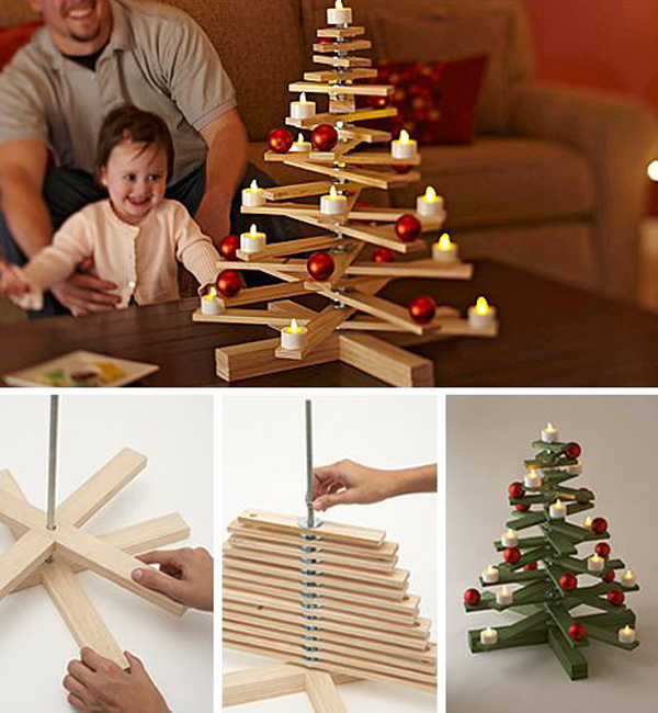 Wooden christmas tree for kids for Make christmas decorations with kids at home