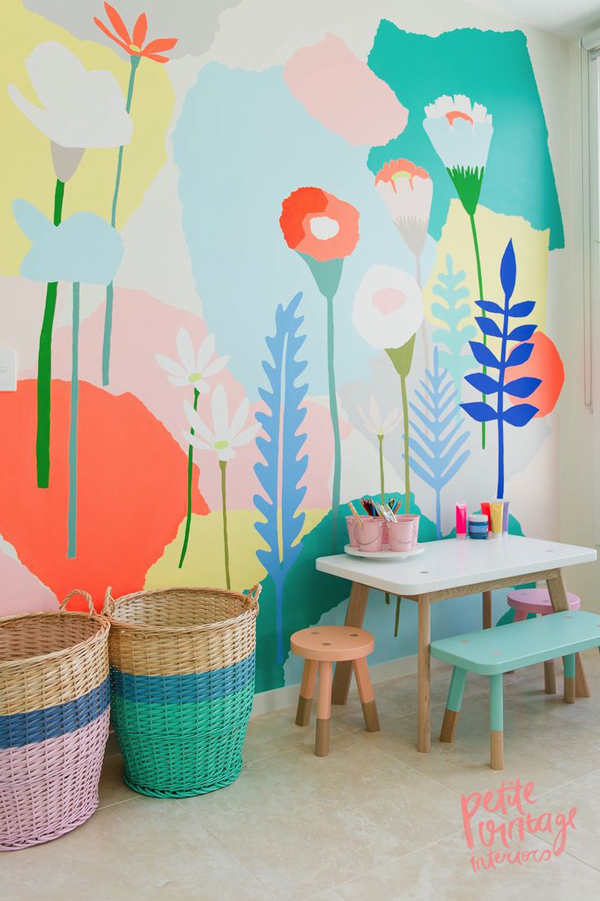 Beautiful wall mural for kids play room for Childrens mural wallpaper