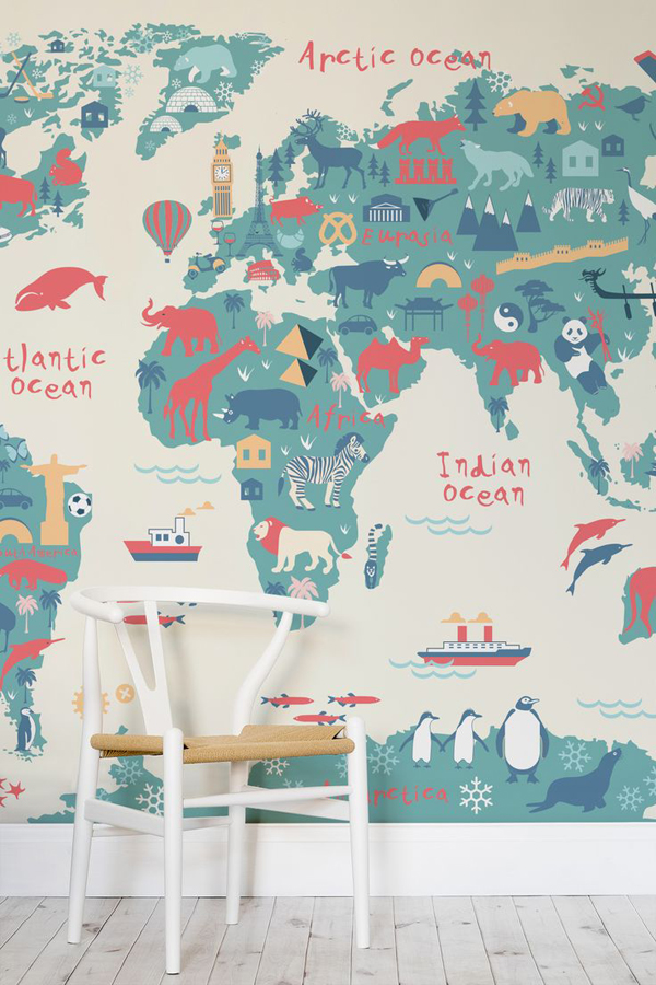 Explorer kids world map mural for Children s wallpaper mural