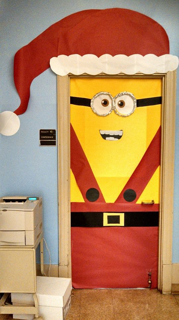 Minion christmas door decoration for 12 days of christmas decoration theme