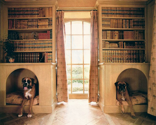Double dog houses under bookshelves for Dog decorations for home