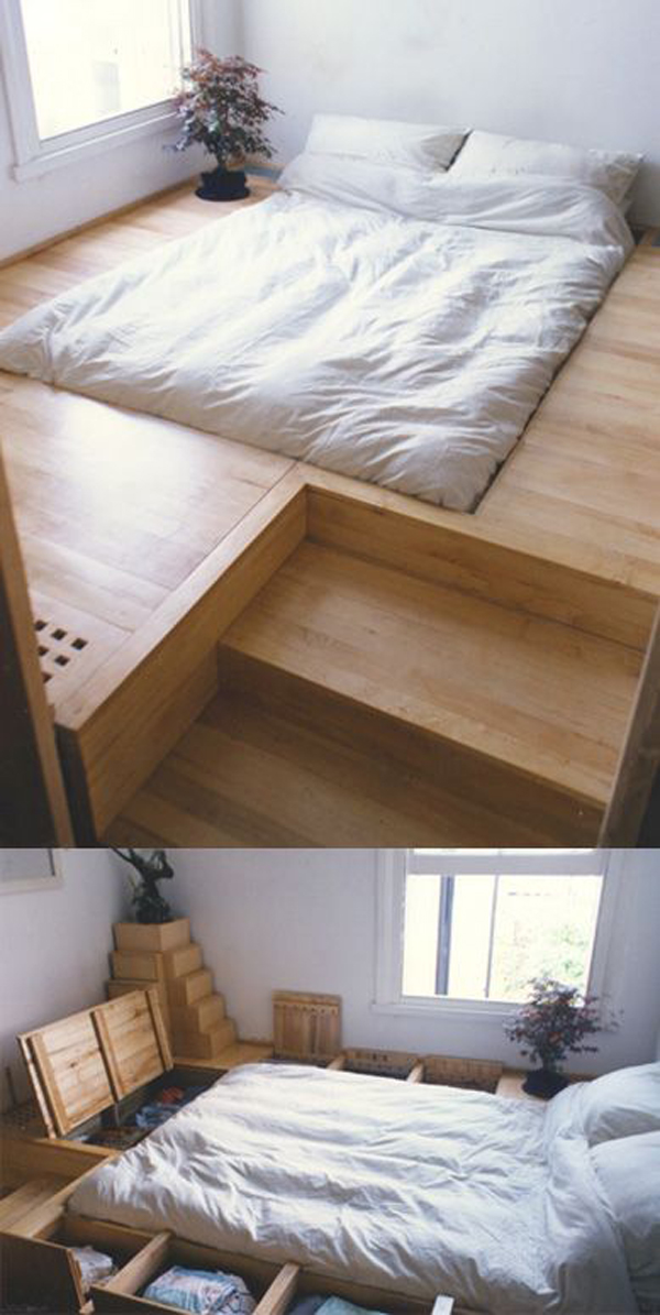 10 smart floor storage ideas for small space solutions - Bedroom with mattress on the floor ...