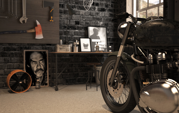 Vintage Motorcycle Garage by Mitika Dimov