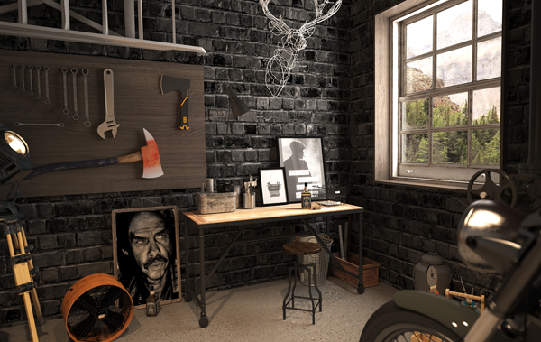 garage bedroom decorating ideas - Vintage Motorcycle Garage by Mitika Dimov