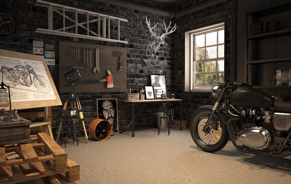 Vintage Motorcycle Garage By Mitika Dimov House Design