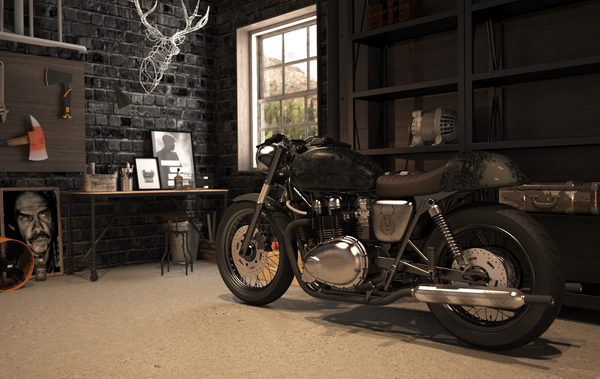 Vintage motorcycle garage by mitika dimov house design for Vintage garage plans