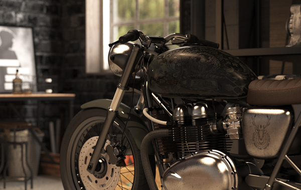 Vintage motorcycle garage by mitika dimov house design for Motorcycle garage plans