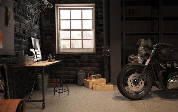 Vintage Motorcycle Garage by Mitika Dimov  House Design And Decor