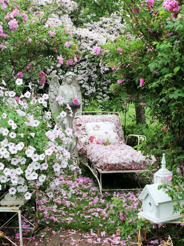 17 shabby chic garden for romantic feel house design and for Classic house with flower garden