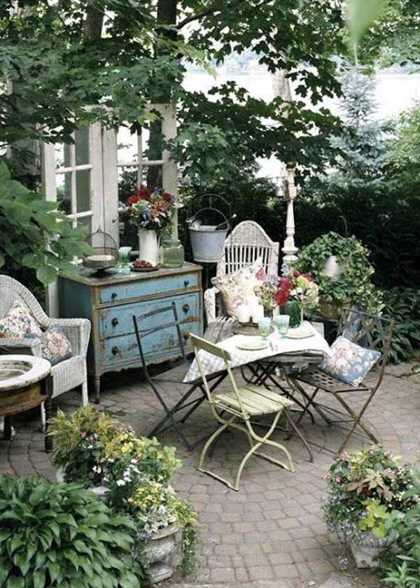 shabby chic garden with dining area. Black Bedroom Furniture Sets. Home Design Ideas
