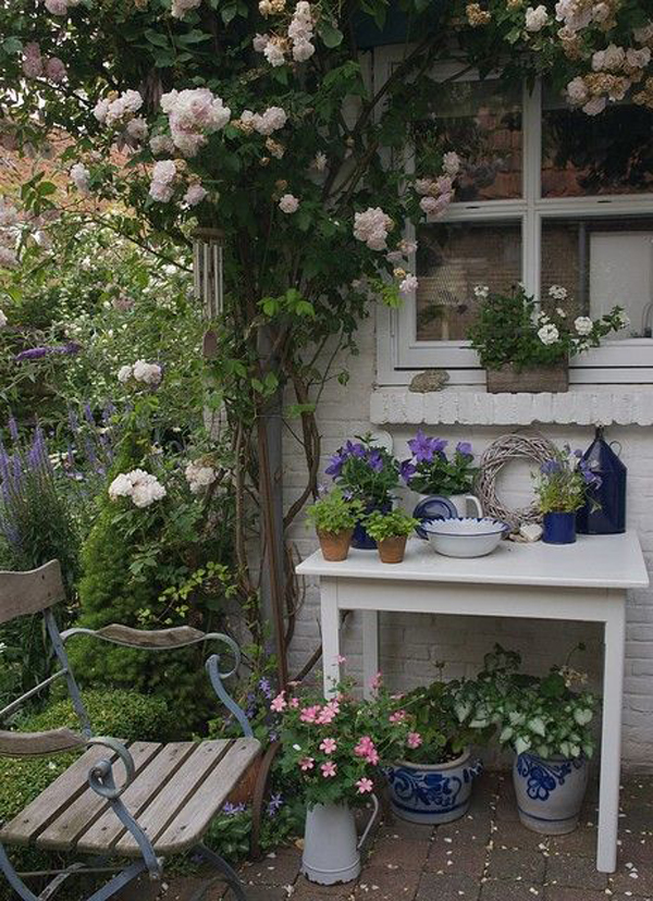 shabby chic garden with potting shed. Black Bedroom Furniture Sets. Home Design Ideas