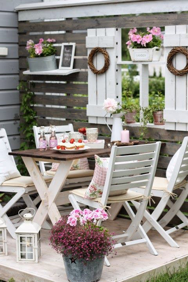 shabby chic outdoor dining room in garden